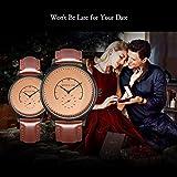 ❄Valentinsgeschenk❄Klassische Paare Uhren Quarz Analog Display 30M wasserdicht mit braunem Lederarmband & Einzigartiger Sekunde-Zeiger