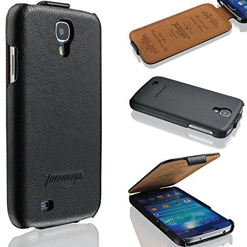 Samsung Galaxy S4 Hülle - i9500 / i9505 - ECHTES LEDER HANDGEFERTIGT - bester Schutz Ihres Handys im Flip Cover Design - Etui Case Schale für Ihr Smartphone - Tasche in Schwarz (Cover-handy Galaxy S4)