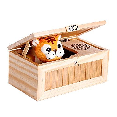 icase4u Don't Touch Cartoon Tiger Inútil Caja Useless Box Creativo Original Regalo y Juguete de Madera Bromas para Pasar el Rato o para Niños y Adultos para Fiestas/Navidad/Cumpleaños