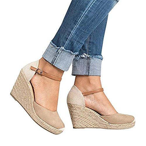 Shelers Damen Keile Schuhe Espadrilles Absätze Knöchel Gurt Fallen Sommer Sandalen (42 EU, X-Beige)