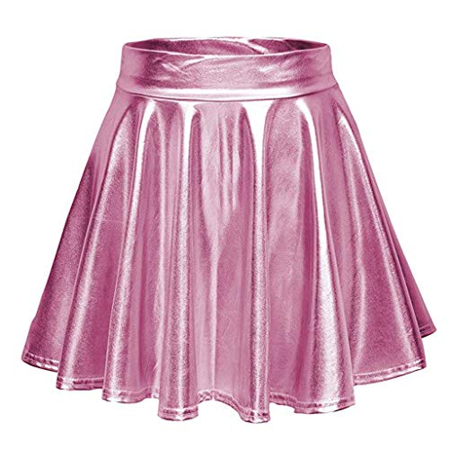 Binggong Rock Damen Mittelalter Faltenrock Frauen Einfarbig Elegant Mini Skart Vintage Minikleid Freizeitkleid -