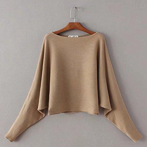 iBaste Strickpullover Damen Langarm Sweatshirt Herbst Pullover Einfarbige Strickpulli Fledermausärmel Loose Tops Khaki