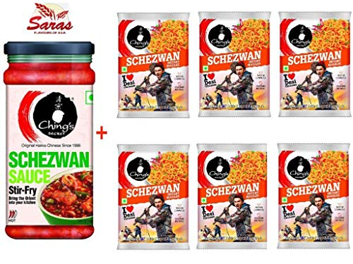 Ching's Secret Lovers Selections: Shezwan Sauce(250g)+Schezwan Noodles(6 Packets)