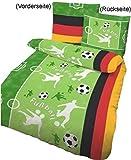 Bettwäsche Fußball grasgrün, 135x200cm, Biber (100% Baumwolle)