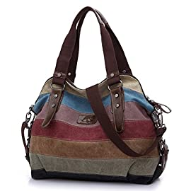 FreeMaster Women's Canvas Multi-Color Hobos Shoulder Bag Tote Handbag