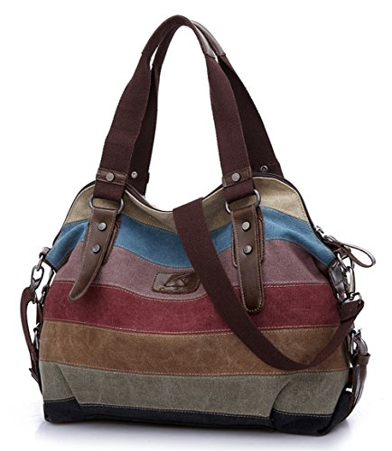 - 51NkLfhwT6L - FreeMaster Women's Canvas Multi-Color Hobos Shoulder Bag Tote Handbag