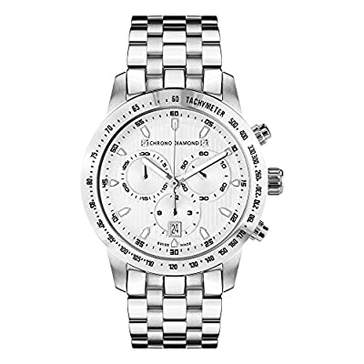 Chrono Diamond Watch Analogue Display and Stainless Steel Strap 82183