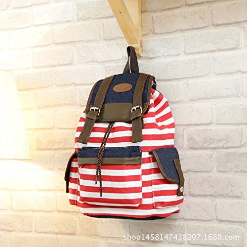 outflower Zaino in tela Corda a corde/Zaino doppio sacchetto di spalla/zaino a righe zaino Casual di Moda/Zaino Studente, Tela, rosso, 30*40*16cm rosso