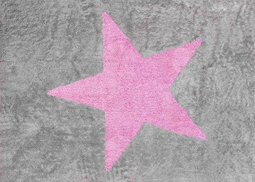 ALFOMBRA 100% ALGODON LAVABLE EN LAVADORA 120X160 CMS ESTELA GRIS ROSA (OBSEQUIO GUIA DE GUIAS PARA PADRES DE CUNA Y PASEO)
