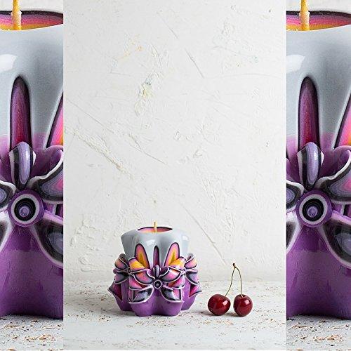 Soja-wachs-körper-massage-kerze (Baby-Geschenkideen, lila, dekorativ geschnitzte Kerze, Weihnachts-Geschenkideen für Kinder, handgemachte EveCandles)