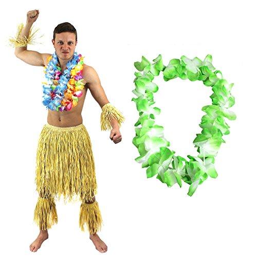 Kostüm Hawaiianer - ILOVEFANCYDRESS Hawaiianer SÜDSEE Zulu KÄMPFER KOSTÜM VERKLEIDUNG=6 TEILIGE=1 GRÜNE LEI/BLUMENKETTE+2 Bein Stulpen+2 ARM Stulpen+BASTROCK=HÜFTUMFANG UNGEFÄR -76-137cm+LÄNGE UNGEFÄHR - 58cm