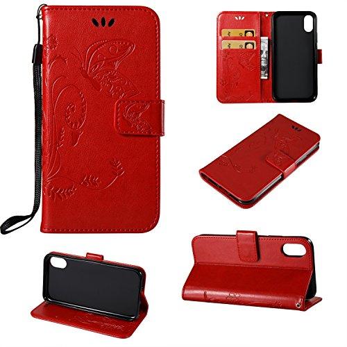 JIALUN-étui pour téléphone Housse de protection Flip Stand avec housse intérieure TPU avec Lanyard & Kickstanfd pour iPhone 8 ( Color : Darkblue ) Red