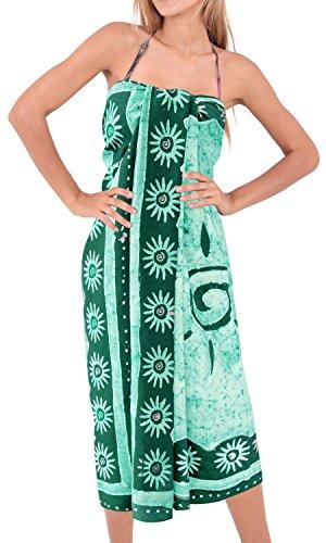 La Leela costumi da bagno liscia rayon mano batik turbinii bikini sarong insabbiamento 78x42inch Pino Verde 1