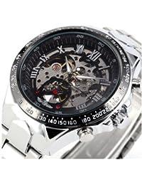 Reloj de acero - WINNER Hombre Esfera esqueleto negro Reloj de acero inoxidable de plata mecanico automatico Negro