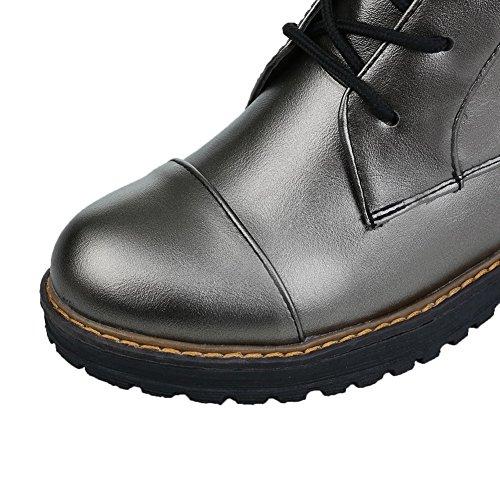 AgooLar Damen Niedrig-Spitze Rein Schnüren Niedriger Absatz Stiefel Grau