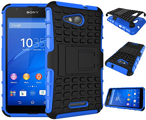 Rüstung Serie Schutzhülle Sony Xperia E4G/E4g E2003/E2006/E2053 Hülle [Schwarz+Blau],Outdoor ISENPENK Hohe Qualität Schutzhülle Muster Schutz Handy Hülle Case Back Cover Tasche Mit Ständer