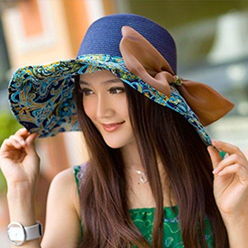 Chapeau de Plage à Large Bord Femme été en Paille Pliable Anti-soleil avec Noeud Marine