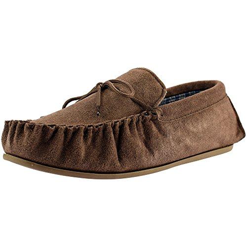 Da uomo Taupe in pelle scamosciata Mocassino Pantofola con resistente sole- Bruce Taupe