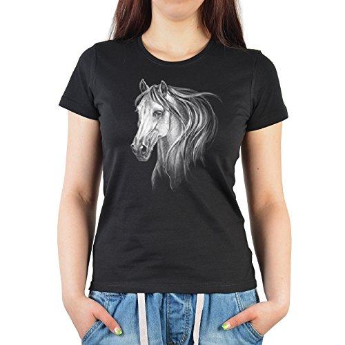 Damen T-Shirt mit coolem Aufdruck - Pferdekopf - Weißes Pferd - Super Geburtstagsgeschenk - Sexy Girlieshirt