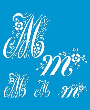 21cm x 17cm Flexibel Kunststoff Universal Schablone - Wand Airbrush Möbel Textil Decor Dekorative Muster Design Kunst Handwerk Zeichenschablone Wandschablone - Dekorative Buchstabe M Alphabet ABC