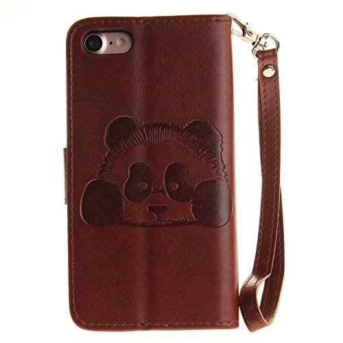 valentoria iPhone 7plus 14 cm Fall Cover, Premium Vintage Cute Panda Animal Geldbörse Leder Tasche Case mit Handschlaufe für iPhone 7plus, Kunstleder, rot, iPhone 7Plus braun