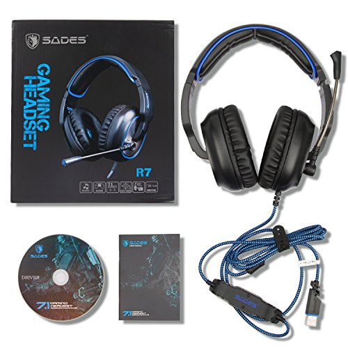 Sades R7 Over Ear Stereo Bass Gaming Headsets, USB Gaming Kopfhörer Dolby 7.1-Surround-Sound, Mikrofon mit Rauschunterdrückung für PC Laptop Tablet Smart Phones