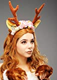 Ladies Lovely Deer Horns Headpiece with Flowers sulla fascia