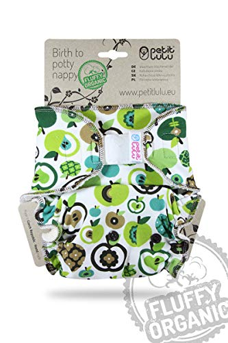 Petit Lulu One Size Höschenwindel (4-15 kg) Klett | Fluffy Organic | Bambus natürliche wiederverwendbare Stoffwindeln | Ohne Polyester (Äpfel)