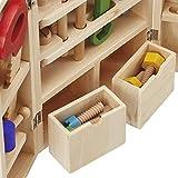 Werkzeug Spielzeug Set Werkzeugkoffer mit Werkzeug, Bauarbeiter Pädagogisches Werkzeugkasten bau spiel aus Holz für kleiner Handwerker Pretend Play kinderspiel ab 4 Jahren Jungen und Mädchen