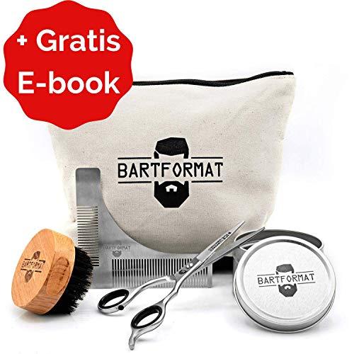 """BARTFORMAT Bartpflege Set\""""SCHNITTWUNDER\"""" - XL Bartschere + Rasur Schablone + Bartbürste + Kulturbeutel"""