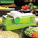 Baban Multi-Function Food Cutter, Mandoline Vegetable Slicer/Shredder, Fruit and Cheese Cutter, 3 Interchangeable Blades + Food Container + Wave-Slicer&Press Crusher + Hand Protector + Blade Storage Box