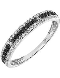 Revoni 9ct White Gold 0.33ct Black and White Diamond Eternity Ring