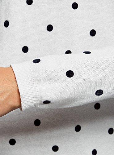 oodji Ultra Damen Gerader Pullover mit Rundhalsausschnitt Weiß (1229D)