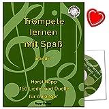 Trompete lernen mit Spaß Band 1 für Anfänger - 150 Lieder und Duette - auch geeignet für Tenorhorn, Bariton, Euphonium im Violinschlüssel - Unterrichtswerk von Horst Rapp für Anfänger mit CD und bunter herzförmiger Notenklammer