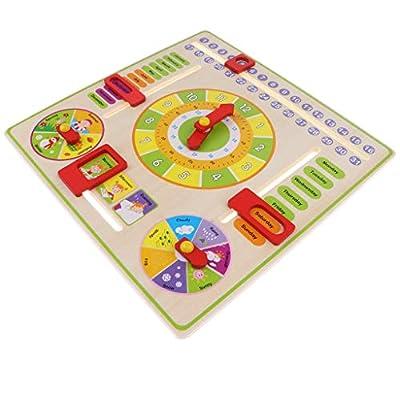 B Blesiya Juguete Montessori Calentario Reloj de Madera Juego Edcuativo para Niños de 3+ Años por B Blesiya