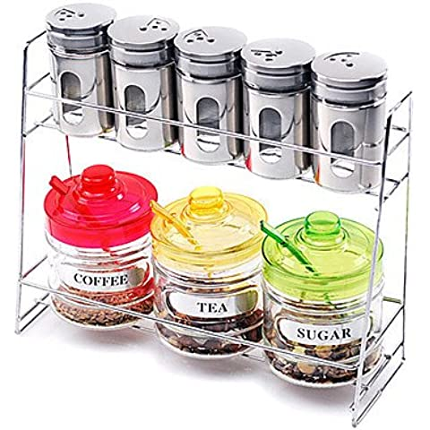 JSGN-Cucina in vetro Cruet Set (Set di 9: 1pc Rack, 5pcs Shaker, 1pc Zucchero Pot, 1pc Coffee Pot & 1pc Teiera con cucchiaio e coperchio) , Yellow