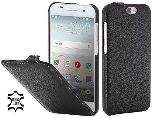StilGut UltraSlim Case, Hülle Tasche aus Leder kompatibel mit HTC One A9, schwarz