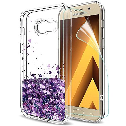 Galaxy A5 2017 Hülle, A5 2017 Glitzer Hülle mit HD-Schutzfolie, LeYi süße Mädchen Frauen Glänzende Flüssig Bewegende Treibsand Transparent TPU Silikon Handyhülle für Samsung Galaxy A5 2017 ZX Purple (Galaxy-trainer)
