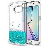 LeYi Hülle Galaxy S6 Edge Glitzer Handyhülle mit HD Folie Schutzfolie,Cover TPU Bumper Silikon Flüssigkeit Treibsand Clear Schutzhülle für Case Samsung Galaxy S6 Edge Handy Hüllen ZX Turquoise