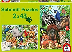 Schmidt Spiele 55449  - Jungle Mundo, Rompecabezas Rompecabezas Pedazo 2x48