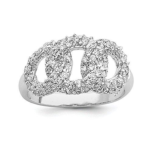 Sterling Silver CZ Interlocking Circles Ring of Three Polishing - Size 1 P / 2 - JewelryWeb