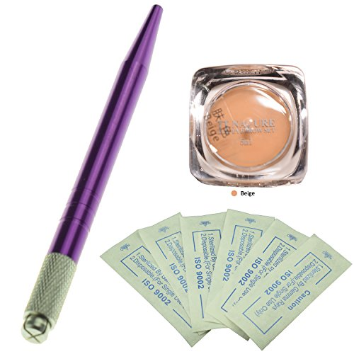 Kit professionnel de microblading de sourcil de stylo manuel pourpre avec 10pcs micro aiguilles de Microblading de sourcil et un colorant naturel d'essence de plante (Beige)
