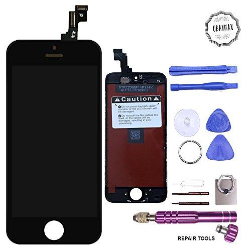Ecran iphone 5c Ubaymax Ecran de Remplacement Affichage Tactile Iphone 5c Retina Display Complet avec Outils de Réparation Haute Qualité Aimantés Montage Optimal Lcd Iphone 5c Vitre Noir Tactile Kit de Réparation Iphone 5c Support Bague inclus