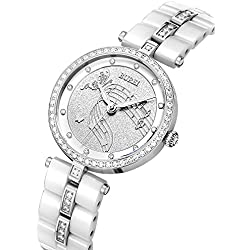 BUREI Women's Dress Elegant Watch Wirstwatch with Silver Diamond Crystals Case and White Ceramic Bracelet