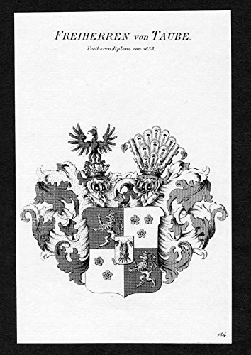 Freiherren von Taube - Taube Wappen Adel coat of arms Kupferstich antique print heraldry Heraldik - Taube Wappen