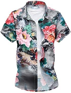Zhiyuanan Uomo Hawaiian Fiore Camicia di Taglia Larga Casual Aloha Camicetta A Maniche Corte da Spiaggia