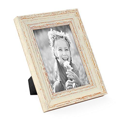 PHOTOLINI Vintage Bilderrahmen 13x18 cm Weiss Shabby-Chic Massivholz mit Glasscheibe und Zubehör/Fotorahmen / Nostalgierahmen