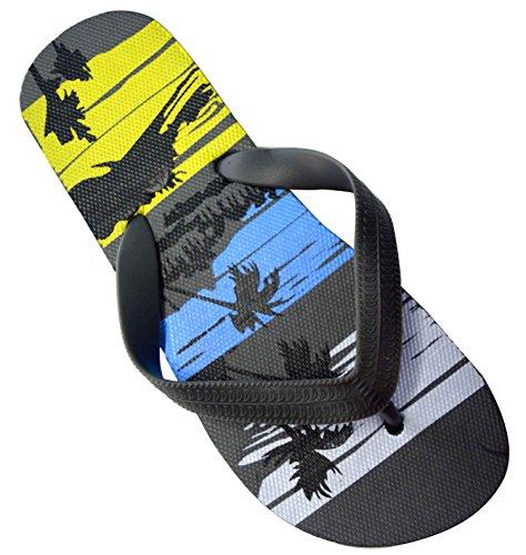 OCTAVE® Boys Summer Beach Wear Flip Flops Collection - Tropical Beach Design [Size UK Regular: 2/3 - EURO 35/36, Colour Grey Mix]
