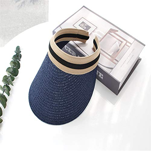 XinFeng Empty Top Sunscreen Sunscreen Hand-Woven Straw Hat Female Summer Duck Tongue Holiday Sun Hat Navy Blue 54-61cm -