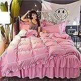 L&SH Bed Rock Typ Twill Doppellagiger, Vierteiliger Anzug, Mode Prinzessin Serie Bettwäscheset, Bequem Und Atmungsaktiv, Einschließlich Bettbezug + Bett Rock + Kissenbezug * 2 (2,1.5 Bett)